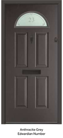 Peak Endurance Range - Eiger - Anthracite Grey Edwardian Number & Composite Front Doors Styles from Peak Windows Swords - 01 906 6186